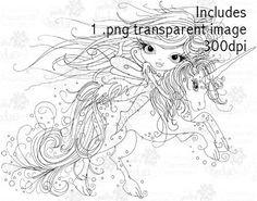 Octavia Moonfly Unicorn Digital Stamp Craft Download - Polkadoodles Ltd