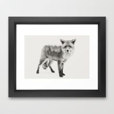 Fox Black and White Double Exposure Framed Art Print