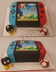 Nintendo Switch with edible bomb and mushroom...bomb is also a candle