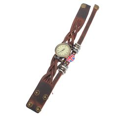 Retro Women Knit Bronze Roma Numerals Bracelet Leather Quartz Watch Free Shipping! - US$7.78