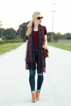 SheIn plaid scarf, AG jeans distressed legging ankle, Frye Reina western ankle bootie, plaid scarf outfit with distressed denim