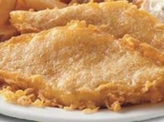 Long John Silver's Copycat Batter Recipe Ingredients: 1 1/2 cups flour, 4 tablespoons cornstarch, 1/2 teaspoon baking soda, 1/2 teaspoon baking powder, 1/2 teaspoon salt, 1 1/2 cups hot water (use ginger ale instead of water) Directions: Sift dry ingredients. Add liquid and mix very well. Coat 8 fish or chicken fillets. Deep fry until golden brown.