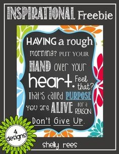 """Inspirational Poster FREE """"Never Give Up!"""" Framing this for my desk this year!"""