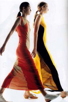 Gilles Bensimon for Elle magazine, March 1999. Dresses by Fendi.