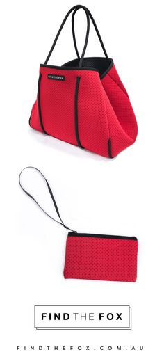 Stylish neoprene tote bags by Find The Fox. Light, carefree, washable and 100% vegan. Get the Fox Bag in red (limited edition) with a free matching neoprene zip up pouch. Shop now at findthefox.com.au ✨