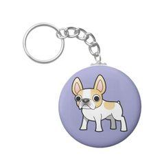 Cartoon French Bulldog (honey/lemon pied) Keychain