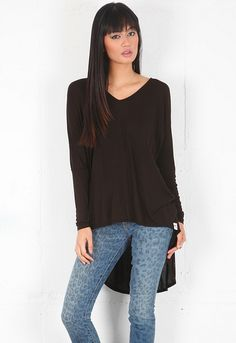 Michael Lauren Long Sleeve V neck Tee with Tail in Black  $59