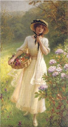 A leisurely morning gathering flowers....lovely way to begin a new day. Victorian Paintings, Victorian Art, Art And Illustration, Classic Paintings, Beautiful Paintings, Art Amour, Ouvrages D'art, Classical Art, Renaissance Art