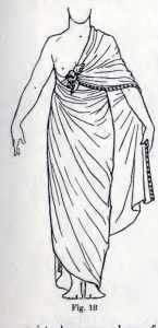 Ancient Egypt costumes and dresses  //Fig. 18., A Simple Shawl Drapery. 1600 B.C.