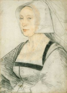 Portrait of an Unknown Woman. Hans Holbein the Younger, c. Royal Coll… Portrait of an Unknown Woman. Hans Holbein the Younger, c. Renaissance Portraits, Renaissance Art, Hans Holbein Le Jeune, Trois Crayons, Hans Holbein The Younger, Royal Collection Trust, Portrait Sketches, Tudor History, National Portrait Gallery