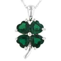 Created Emerald Shamrock Necklace - Shamrock Necklaces: Gifts for St. Patrick's Day