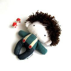 """Rag doll toy plushie baby boy kid handmade stuffed plushie softie white navy blue denim teal cuddly soft child friendly 11"""" 27 cm. $42.00, via Etsy."""