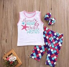 Girls Mermaid Kisses and Starfish Wishes Outfit Set