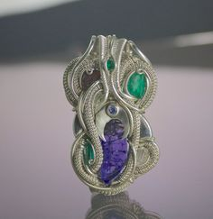 TendaiDesigns: epic purple tanzanite emeralds x2 trapiche emerald phenakite etched spessartine garnet herkimer diamond  sterling and fine silver