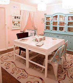 Beau Christine Craft Room ~ 2 Martha Stewart Desks Mixed With Vintage Furniture  ~ Room Painted In