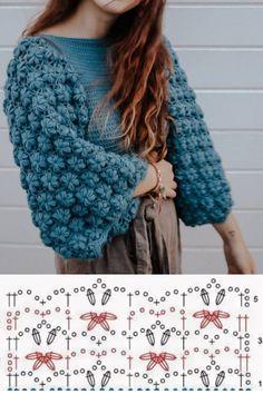 Crochet Jumper, Knitted Poncho, Crochet Cardigan, Knit Crochet, Crochet Square Patterns, Basic Crochet Stitches, Bead Crochet Rope, Crochet Baby Clothes, Easy Knitting