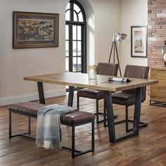 Julian Bowen Brooklyn Dining Set with Brooklyn Chairs & Upholstered Bench Dining Table With Bench, Wooden Dining Tables, Dining Set, Dining Chairs, Metal And Wood Bench, Grey Leather Chair, Kitchen Table Makeover, Upholstered Bench, Dining Room Furniture