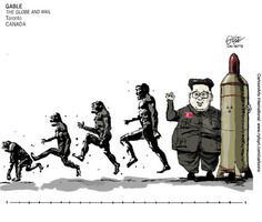GABLE (2017-05-05)  NORTH KOREA : KIM JONG UN Source: The Globe and Mail - Toronto, Canada Keywords: COLOR NORTH KOREA KIM JONG UN EVOLUTION NUCLEAR MISSILE WAR 100517 Provider: CartoonArts International / The New York Times Syndicate   New York Times Syndicate