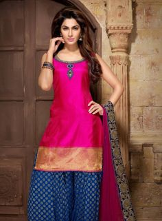 Magenta Patiala Shalwar Kameez In Art Silk GF8140756