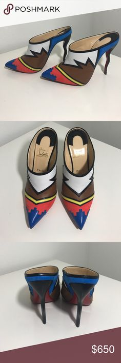 """Christian Louboutin Vagachina heels Nwob. Leather and suede. 4.8"""" heel. Wavy heel. Sticker residue on bottoms. Price firm unless bundled. Authentic Christian Louboutin Shoes Heels"""