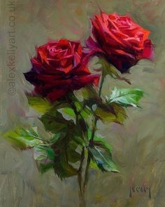 Rose Art, Realism Art, Fine Art Gallery, Beautiful Paintings, Painting Inspiration, Flower Art, Red Roses, Oil On Canvas, Drawings