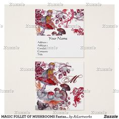 MAGIC FOLLET OF MUSHROOMS Fantasy Floral Monogram Square Business Card #fantasy #floral #swirls #watercolor #autumn