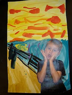 Jamestown Elementary Art Blog: 4th grade- students created their own scream. Maybe tweak it to have them choose their own emotion and then create a background to match the photo