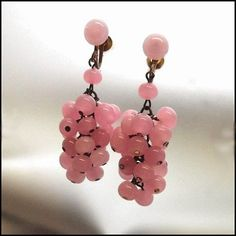 French Pink Opalescent Glass Earrings 1930s Vintage