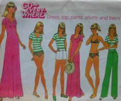 "Vintage ""Go Everywhere"" Dress,Top, Pants,Shorts, and Bikini Sewing Pattern"