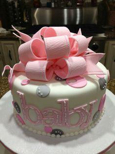 Baby shower cake (pink & gray)