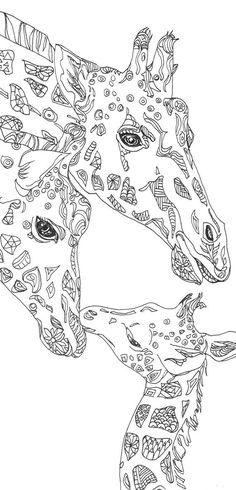 Coloring Pages Giraffe Printable Adult Book Clip Art Hand Drawn Original Zentangle By ValRA Davlin Publishing