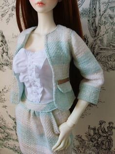Tweed jacket and skirt  blouse for SD BJD by SquishTish on Etsy, €50.00 #Doll #BJD #SD #LUTS #Delf #Senior #Verna #Ball-jointed #Super #Dollfie #clothes #fashion #style #outfit #tweed #jacket #blouse #shirt #top #skirt #handmade #handsewn #SquishTish