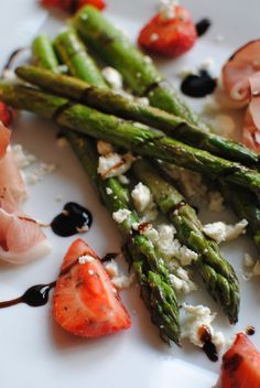 Asparagus with strawberries