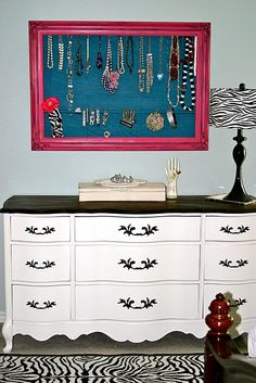 "could use this idea with that big frame I thrifted, then ""moi jewels become d'art !!!"" Second look, the dresser is like Coco's except painted with a black to and handles, furniture redo too."