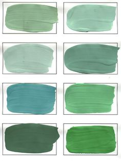 Shades of verdigris, green - Classic Color Series - interior design, interior decoration, Belltown Design, Seattle WA Green Color Names, Green Paint Colors, Green Colour Palette, Wall Colors, House Colors, Colours, House Painting, Painting On Wood, Exterior Paint