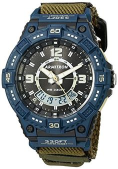 Armitron Sport Mens Quartz Resin and Nylon Fitness Watch ColorGreen Model 205128NOG -- Click image to review more details.