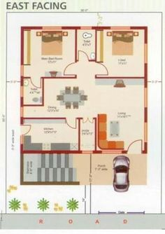 2bhk House Plan, Model House Plan, House Layout Plans, Duplex House Plans, Duplex House Design, Family House Plans, Dream House Plans, Single Floor House Design, Small House Floor Plans