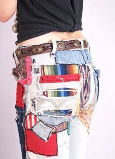Patchwork Jeans From The 70S | MeASUREMENTS All measurements are taken seam to seam while garment is ...