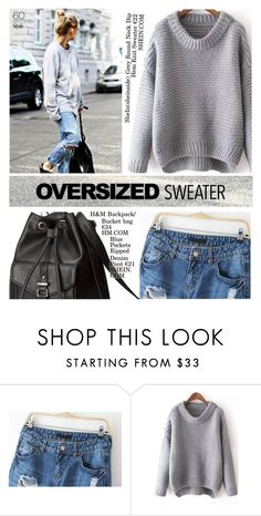 """""""60-Second Style: Oversized Sweater"""" by alessandra-mv ❤ liked on Polyvore featuring H&M, Sweater, oversized, oversizedsweater, sweaterweather and 60secondstyle"""