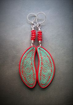 Silk screened polymer clay earrings with glass beads and sterling silver ear wires by Shelley Atwood