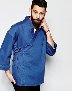 ASOS Denim Wrap Front Kimono at ASOS. Mode Kimono, Kimono Jacket, Kimono Fashion, Fashion Outfits, Modern Mens Fashion, Japan Fashion, Mode Inspiration, Men Looks, Stylish Men