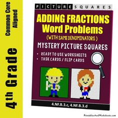 Grade Adding Similar Fractions Word Problems Mystery Pictures Coloring Worksheets 4th Grade Fractions, Adding Fractions, 4th Grade Math Worksheets, Fraction Word Problems, Math Word Problems, Flip Cards, Task Cards, Coloring Worksheets, Teaching Style