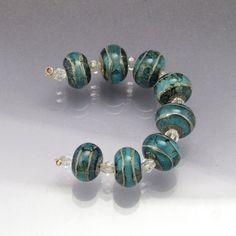 Lampwork glass bead set small round beads handmade  Aqua blue Sea Rocks  by Anne Londez