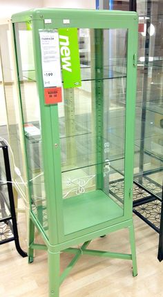 Ikea -  fabrikor - glass -door cabinet $179 (black, mint, cream)  Mint green- to hold my vintage kitchen beauties