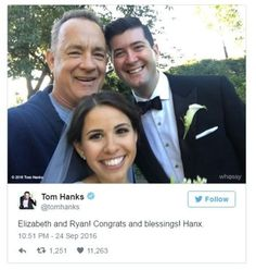Tom Hanks on Twitter: Elizabeth and Ryan! Congrats and blessings! Hanx. Photo: Tom Hanks with the bride and groom