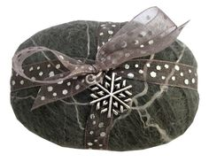Felted Soap Icy Grey with snowflake charm
