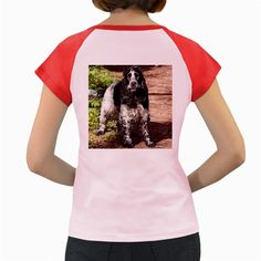 Black+Roan+English+Cocker+Spaniel+Women's+Cap+Sleeve+T-Shirt