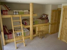 Triple bunks... great idea for a cabin or basement. When you want six kids....