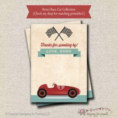 Retro Race Car Thank You Card