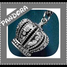 Large Crown Pandora Charm Discontinued hard to find....Gorgeous Pandora Crown Charm with a touch of Bling . Thank you and Happy Poshing!!! Pandora Jewelry